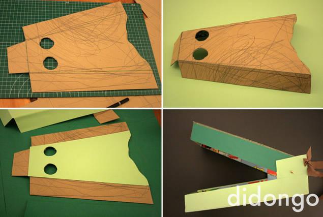 disfraz casero cocodrilo con caja de cartón